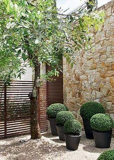 Quem chega à casa pela entrada principal visualiza o jardim, mas não pode acessá-lo por conta do painel vazado de ripas de madeira. Para pisar neste cantinho, só mesmo estando na sala (Foto: Casa e Jardim)