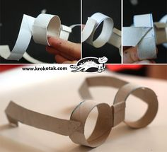 Sunglasses from empty toilet paper rolls Diy Gifts For Kids, Diy For Kids, Crafts For Kids, Toilet Roll Craft, Toilet Paper Roll Crafts, Kids Class, Crafty Kids, Summer Crafts, Projects For Kids