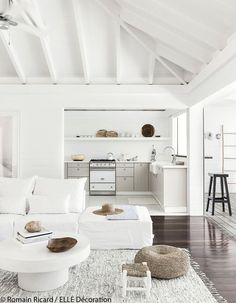 All white living room, no red wine allowed