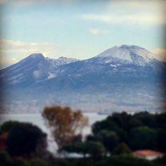 Naples, IT - Mount Vesuvius with snow, Fall 2013.