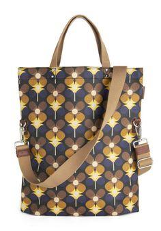 Orla Kiely Carrying Cachet Bag by Orla Kiely - Print, Vintage Inspired, 60s, Mod, International Designer, Leather, Cotton, Woven, Multi, Yel...