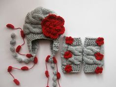 SET Baby Girl Hat and Leg WarmersNewborn Baby Girl by KnittingLand, $30.50