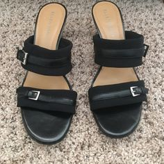 """New Ellen Tracy black heel sandals New Ellen Tracy black strap sandals size 8.5. The straps on the are a very soft polyester material with a leather strap in the center of each. 3""""'heel. Fit true to size. Ellen Tracy Shoes Heels"""