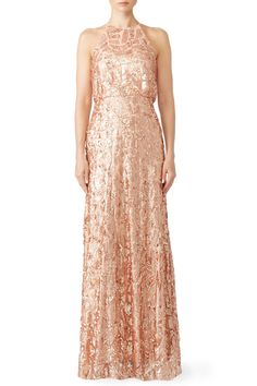Donna Morgan Rose Gold Tiffany Gown Affiliate Bridesmaids Sequin Rosegold