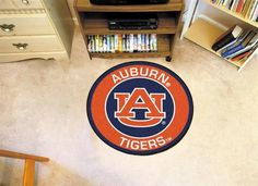 Round Auburn University Tigers Floor Rug