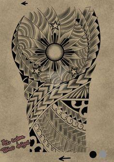 Tattoo request design Maori 3 stars and the sun by maherosan123