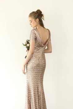 dec0341d7f9 Rose gold sequin evening dress