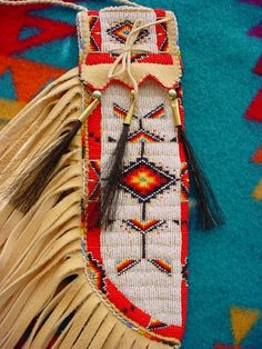 Beaded knife case to match Native American war shirt. Finished in cut glass beads Native American Moccasins, Native American Regalia, Native American Beadwork, Native American Fashion, Native American Indians, Indian Beadwork, Native Beadwork, American Indian Art, American War