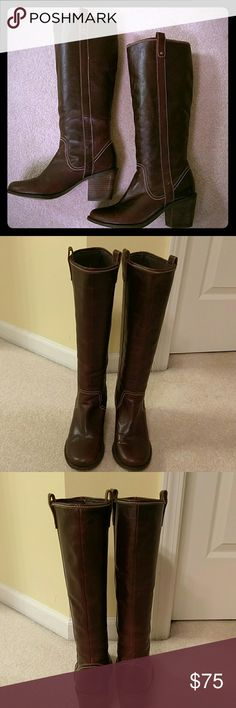 Steve Madden riding boots 100% leather uppers, 3 inch heels, very comfortable. The color is a stunning dark wine/brown. The only visible wear is at the bottom where would be expected. Worn only a few times. Steve Madden Shoes Heeled Boots