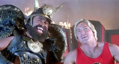 Prince Vultan (Brian Blessed) and Flash Gordon (Sam J. Fantasy Movies, Sci Fi Movies, Movie Tv, Brian Blessed, 80s Sci Fi, Movie Facts, Movie Trivia, Logan's Run, Ornella Muti