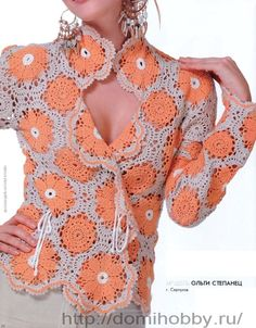 Crochet Shirt Knitted Crochet women's cardigan coat lace by DupletMagazines - Crochet Bolero, Crochet Jacket, Crochet Cardigan, Irish Crochet, Knit Crochet, Crochet Tops, Crochet Sweaters, Crochet Motif, Free Crochet