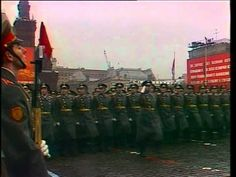 Soviet Air Force staff officers and officer-scholars of the Gagarin Air Force Academy marching through Red Square in the 1974 Moscow October Revolution Day Parade.