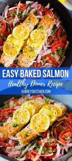 Looking for a healthy, easy dinner idea? This dinner recipe is simple, great for family, keto and delicious! Easy oven baked salmon with lemon, tomatoes and onion. Great served with rice or even on a salad! #easydinner #salmon #keto #dinnerrecipes #familydinner #dinner #salmonrecipes #healthydinner #healthyrecipes Baked Salmon Lemon, Baked Salmon Recipes, Fish Recipes, Lunch Recipes, Healthy Dinner Recipes, Real Food Recipes, Cooking Recipes, Healthy Dishes, Best Seafood Recipes