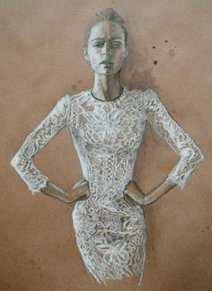 18 x 24 ReCycled Paper White and Black Color Pencil Dress: Dolce and Gabbana