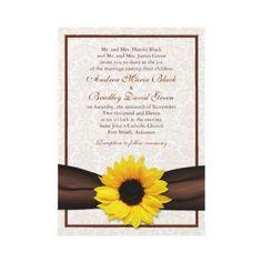 Sunflower Damask Floral Wedding Invitation from http://www.zazzle.com/sunflower+wedding+invitations