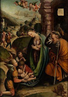 ANBETUNG DES KINDES DURCH MARIA, JOSEF UND DIE ENGEL Öl auf Holz. 118 x 85 cm. Das vorliegende Gemälde basiert auf einem Werk mit gleichem Thema, das heute...