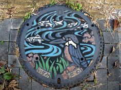 There are a lot of beautiful designed and colored manhole covers in Japan.