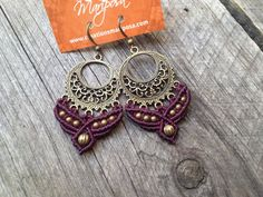 Micro macramé earrings in prune boho jewelry by creationsmariposa, $25.00