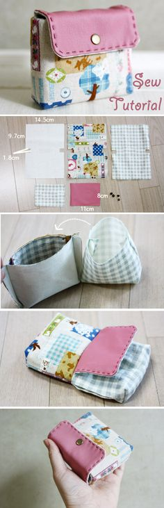 Cute Pink Business Card Holder / Purse Sew DIY Tutorial in Pictures. www.handmadiya.co...
