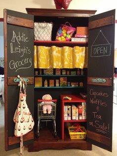 DIY Kid Grocery Store built into Armoire Cabinet