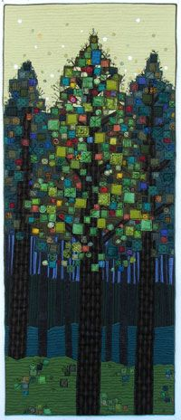 "Deep in the Forest 18"" x 45"" by Terry Grant Patchwork Quilt"