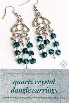 These chandelier earrings contain both the dark teal dyed Diamond-cut Quartz beads and Rock Crystal Quartz (although in 4mm rather than the 8mm beads of the bracelet). Rather than the Crackle Quartz beads, however, I've used Diamond-cut Rutilated Quartz. #ImAFierceLynx #gemstonejewelry #gemstoneearrings #holidaygiftideas #dangleearrings #quartzjewelry #rutilatedquartz