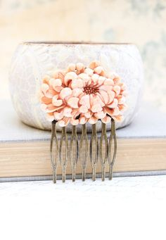 Flower Hair Comb Peach Chrysanthemum Light Rust by @Christina & Foos