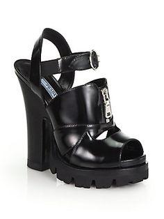 00ec09640518 Prada Spazzolato+Fume+Leather+Sandals Leather Sandals