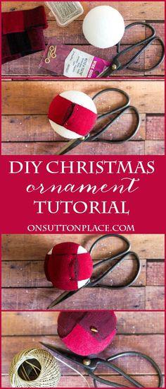 Red Buffalo Plaid Christmas Ornament | Easy tutorial to make these styrofoam ball ornaments. Fun Christmas craft for handmade Christmas decor. #handmade