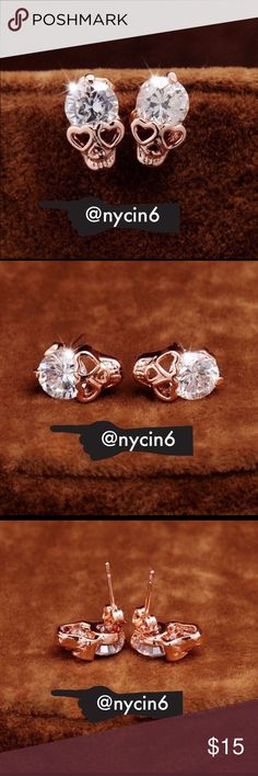 Rose Gold Crystal Skull Earrings Punk style rose gold crystal skull stud earrings. Actual earrings are pictured in fourth picture. Made of Zinc Alloy.                                                                                                     Size 12mm                                                                            Brand New Jewelry Earrings