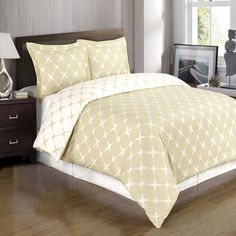 Ivory and Beige Combed Cotton Duvet Cover Set, 300 Thread Count, Geometric Print