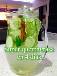 Ingredientes:  2 litros de agua 1 cucharada de jengibrereciénrayado 1 pepino, pelado y cortado en rodajas finas 1limónsin pelar, rodajas finas Y una barra de canela 12 hojas hierbabuena o menta