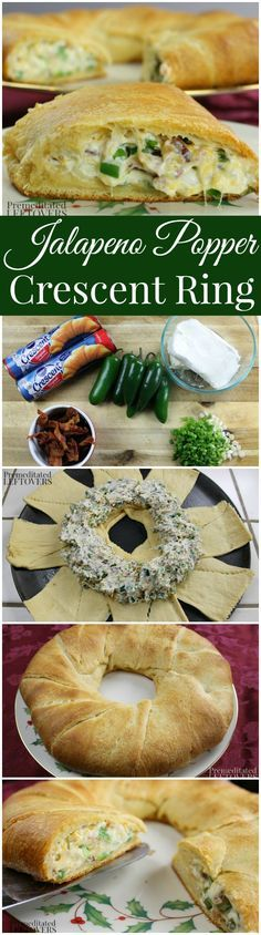 Jalapeno Popper Crescent Ring Recipe: An easy appetizer recipe made by stuffing a Pillsbury crescent ring with jalapeno popper dip. Make-ahead party recipe.