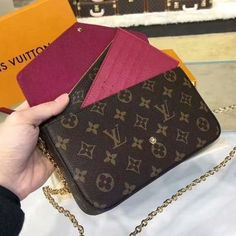 Louis Vuitton Pochette Felicie Chain Wallet Monogram Canvas - LV Pochette - Latest and trending LV Pochette. Lv Pochette, Pochette Louis Vuitton, Louis Vuitton Monogram, Louis Vuitton Felicie, Bad And Bougie, Louis Vuitton Handbags Sale, Couture Handbags, Wallet Chain, Authentic Louis Vuitton