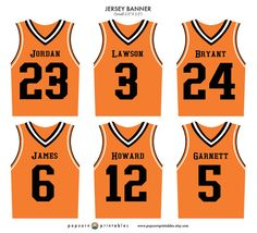 Sports Jersey Banner Basketball Game By PopcornPrintables