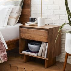 Crafted from durable, solid mango wood that beautifully highlights the natural grain of the wood, our Anton Nightstand is a sleek way to bring the warmth of rustic farmhouse pieces to the bedroom. Furniture Decor, Bedroom Furniture, Furniture Design, Bedroom Decor, Furniture Layout, Furniture Sets, Modern Furniture, Wood Nightstand, Floating Nightstand