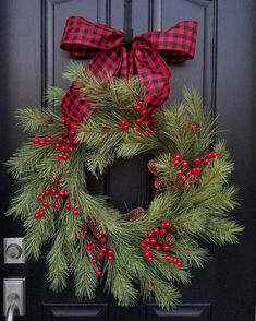 Christmas Wreaths for Front Door, Christmas Wreaths and Swags, Holiday Wreaths, Christmas Pine Wreaths, Black and Red Ribbon - Misc Goodies - Decorations Christmas, Christmas Wreaths For Front Door, Holiday Wreaths, Holiday Decor, Fresh Christmas Wreaths, Christmas Swags, Rustic Christmas, Christmas Crafts, Christmas Ornaments
