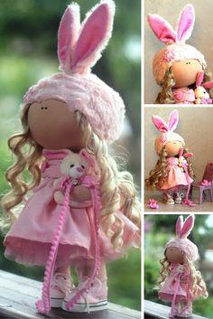 Bunny doll Textile doll Fabric doll Interior doll Tilda doll Interior doll Art doll Handmade doll Pink doll Cloth doll