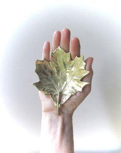 sugar maple leaf brass dish Virginia Metalcrafters by ionesAttic