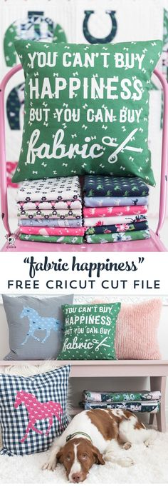 A DIY Pillow cover that is a great way to spruce up your sewing room decor. Includes a free cricut cut file for the