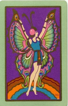 Deco lady butterfly playing card