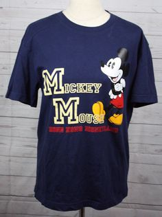 Mickey Mouse Disney Hong Kong Navy Blue Short Sleeve 100% Cotton T Shirt Large #Disney