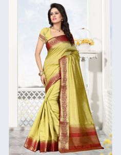 Mustard Raw Silk Saree With Blouse 68213