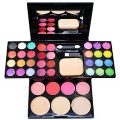 [grxjy5140005]24 Colors Eye Shadow Palette Makeup Kit Blusher Brush Powder Puff