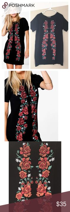 """Floral design shift dress This short sleeve shift dress features a floral design. Sturdy polyester and Elastane. Has structure and stretch. Bust 40"""", length 33"""". From U.K. Brand boohoo sold by ASOS. ❌no trades ASOS Dresses"""