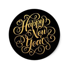 Happy New Year Typography Faux Gold Classic Round Sticker - New Year's Eve happy new year designs party celebration Saint Sylvester's Day