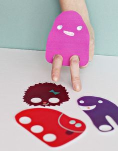 Monsters Finger Puppet Class Valentines DIY - - Printable DIY Downloads from Smallful - Great Craft Project for Valentines with the kids!