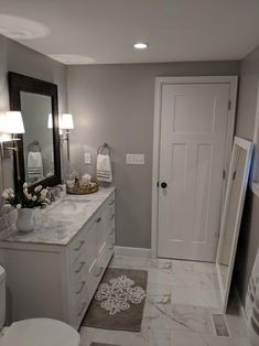 gray bathroom MSI Carrara 12 in. x 24 in. Glazed Porcelain Floor and Wall Tile sq. / case) at The Home Depot - Mobile Home, Restroom Decor, Remodel, Diy Bathroom Decor, Small Bathroom Decor, Modern Bathroom Decor, Bathrooms Remodel, Bathroom Design, Bathroom Decor