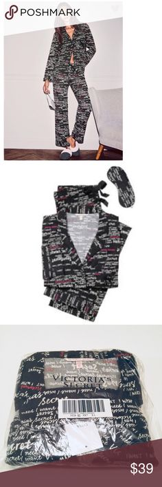 🆕 Victoria's Secret Flannel Pajamas Small 🆕 Victoria's Secret Daydreamer Flannel Pajamas, Size Small. Colors are Black, White and Pink. New in package, never opened. Also includes Eye mask. See Size Chart in Photos. 🚫 NO TRADES, PRICE IS FIRM🚫 A11 Victoria's Secret Intimates & Sleepwear Pajamas