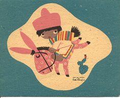 Uma das minhas ilustradoras preferidas. Trabalhou na animação da Alice, da Disney.  Mary Blair Christmas Card by grickily, via Flickr.